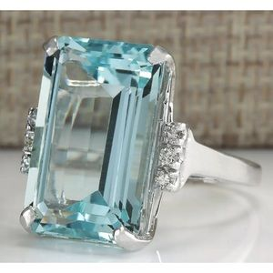 Women 925 Silver Aquamarine Gemstone Ring